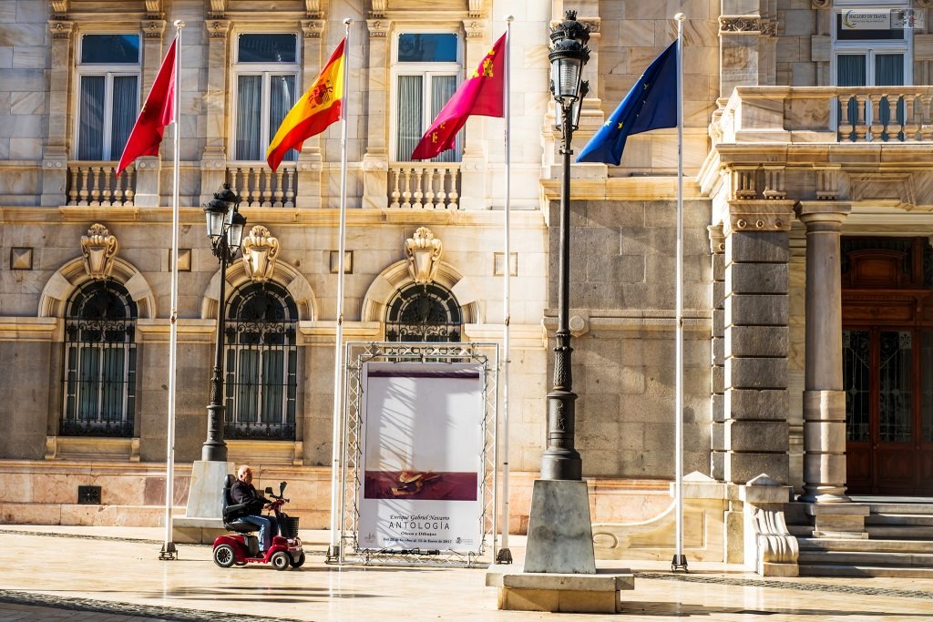 Street life in Murcia; Disabled gentleman near the town hall of Cartagena in Murcia in the Costa Calida region of Spain on Mallory on Travel adventure travel, photography, travel Iain Mallory_Murcia 001-119
