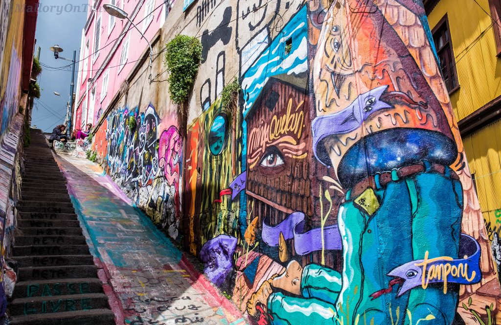 Street art in the colourful seaside town of Valparaiso, Chile in South America on Mallory on Travel adventure travel, photography, travel Iain Mallory_Chile6266