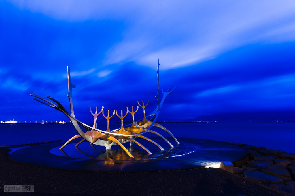 Street art sculpture in Iceland; Sólfar, the Sun Voyager viking in Reykjavik harbour on Mallory on Travel adventure travel, photography, travel Iain Mallory-300-11