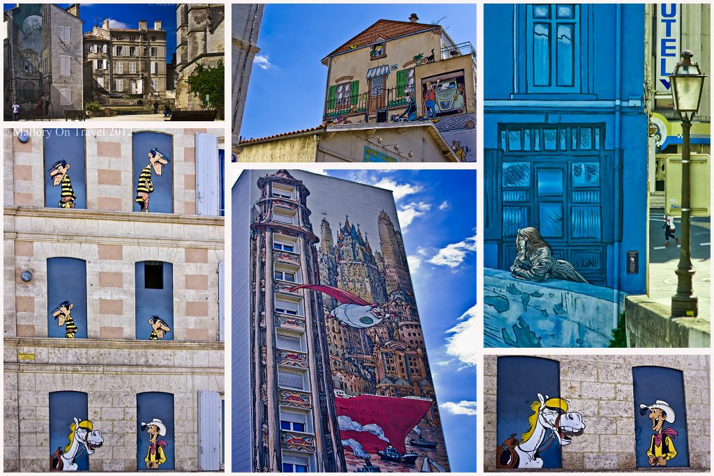 The comic strip style street art of Angoulême in Poitou-Charentes, France on Mallory on Travel adventure travel, photography, travel Iain Mallory Montage1
