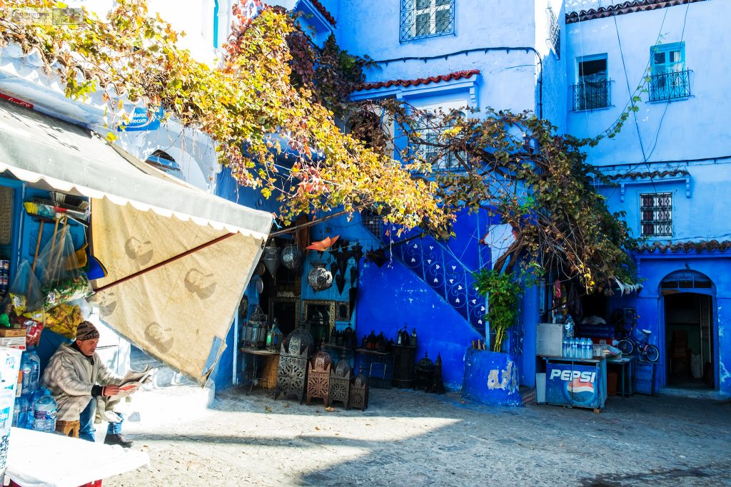A quiet square in the streets of Chefchaouen, the Blue City in the Rif Mountains of north Morocco on Mallory on Travel adventure travel, photography, travel Iain Mallory_Morocco 006