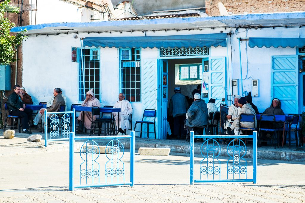 A traditional tea and coffee shop in Chefchaouen, the Blue City in the Rif Mountains of northern Morocco on Mallory on Travel adventure travel, photography, travel Iain Mallory_Morocco 015