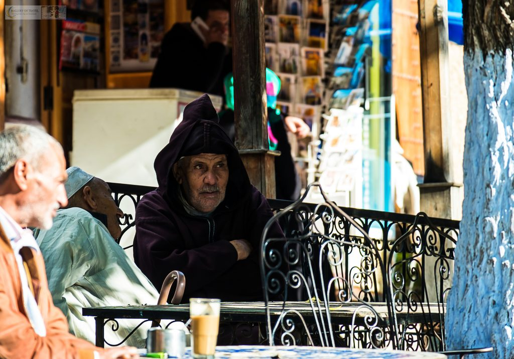 Cafe culture on the streets of Chefchaouen, the Blue City of Morocco in the Rif Mountains on Mallory on Travel adventure travel, photography, travel Iain Mallory_Morocco 030