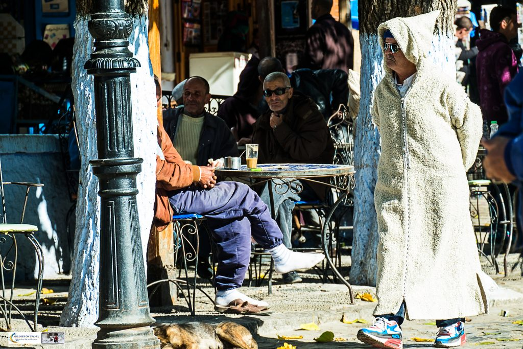Cafe culture in the streets of Chefchaouen, known as the Blue City of the Rif Mountains of northern Morocco, north Africa on Mallory on Travel adventure travel, photography, travel Iain Mallory_Morocco 033