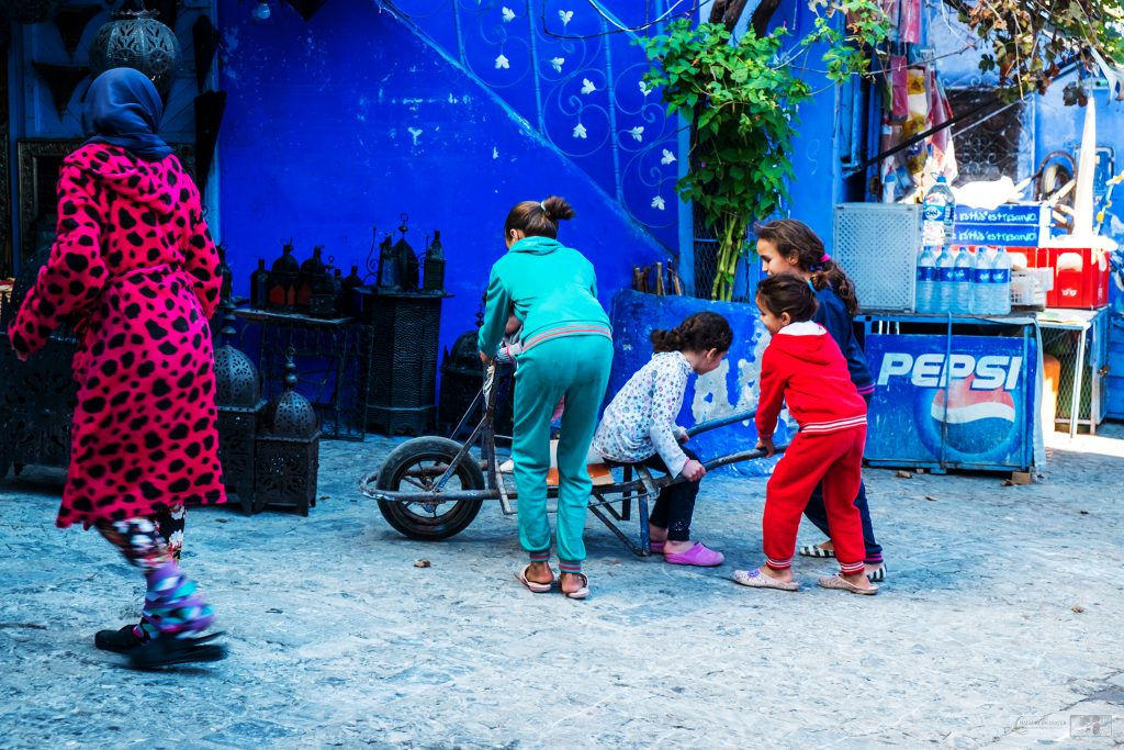 Children play in the Blue City of Chefchaouen medina in the Rif Mountains, North Africa on Mallory on Travel adventure travel, photography, travel Iain Mallory_Morocco 046