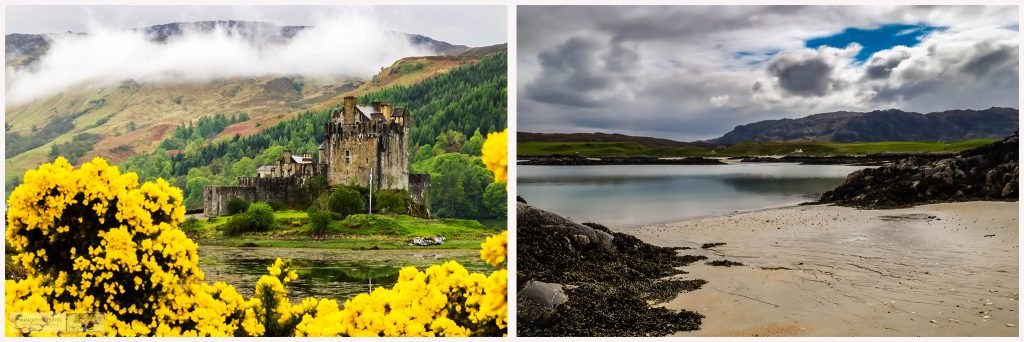 Road trip highlights in the Scottish highlands, Eilean Donan Castle and the beach at Camusdarach on Mallory on Travel adventure travel, photography, travel Iain Mallory Scotland-Montage1
