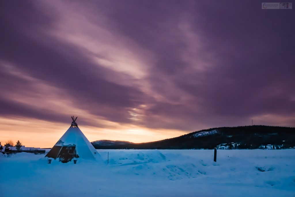 A tipi under the northern sky above the Sweden Icehotel on the Torne River in Jukkasjarvi, near the town of Kiruna in Swedish Lapland, inside the Arctic Circle, Scandinavian Europe on Mallory on Travel adventure travel, photography, travel Iain Mallory_Lapland-5