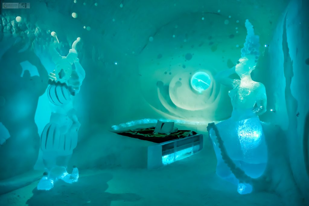 """An """"art suite"""" at the Sweden Icehotel on the Torne River in Jukkasjarvi, near the town of Kiruna in Swedish Lapland, inside the Arctic Circle, Scandinavian Europe on Mallory on Travel adventure travel, photography, travel Iain Mallory_Lapland-7"""