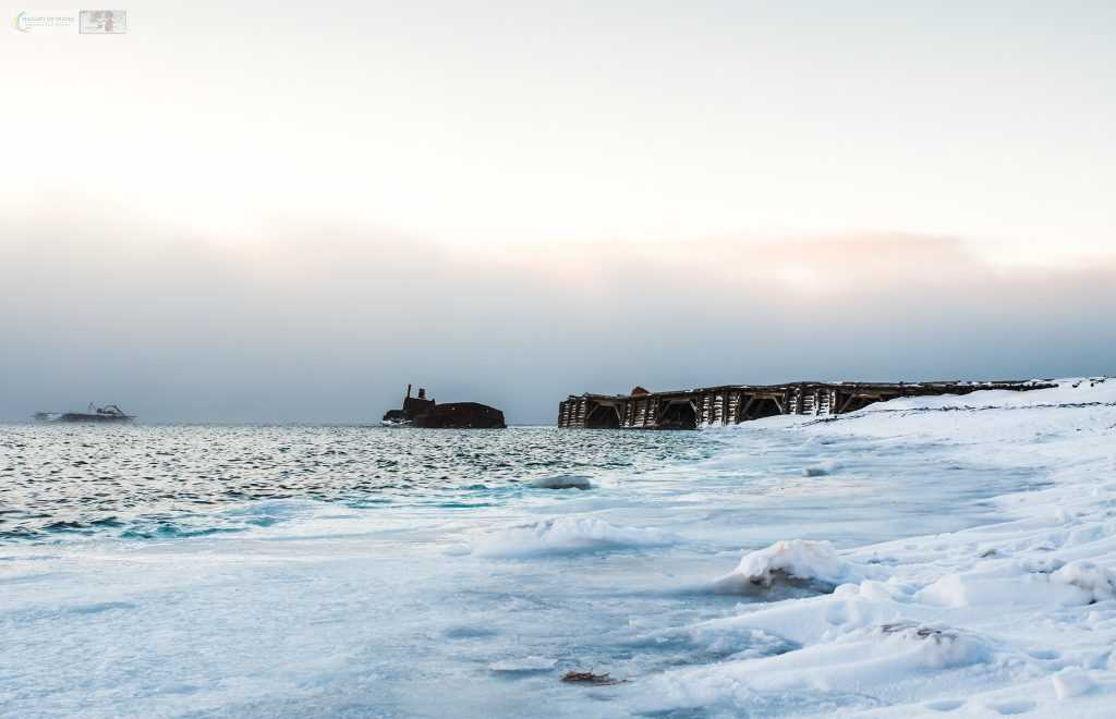 One of the jetties at Colesbukta (Coles Bay) at the southern end of Isfjorden in Nordenskiöld Land on Spitzbergen the largest island of the Svalbard group, a territory of Norway inside the Arctic Circle on Mallory on Travel adventure travel, photography, travel Iain Mallory_Svalbard-1-43
