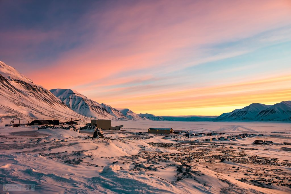 "Sunrise over Sveagruva, meaning ""Swedish Mine"" also known as Svea, located at the head of the Van Mijenfjord on Spitzbergen, the thrid largest settlement of the Svalbard Archipelago in Arctic Norway on Mallory on Travel adventure travel, photography, travel Iain Mallory_Svalbard-1-82"