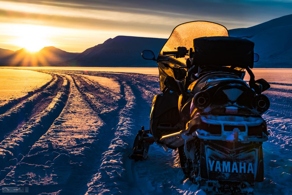 Snowmobiles and sunsets near the mining settlement of Sveagruna or Svea on Spitzbergen on the Svalbard archipelago inside the Arctic Circle on Mallory on Travel adventure travel, photography, travel Iain Mallory_Svalbard-1-93