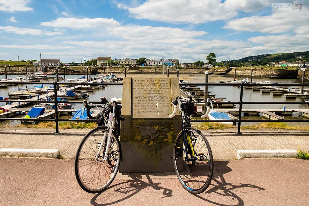The Cycle Route of Legends in south Wales, the Amelia Earhart memorial at Burry Port Harbour on the Welsh coast on Mallory on Travel adventure travel, photography, travel Iain Mallory_wales-1-5