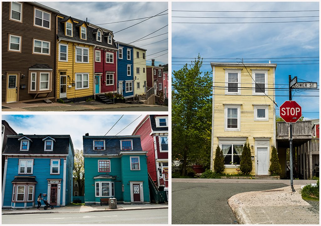 Jellybean Row, colourful houses in St John's, capital city of the province of Newfoundland and Labrador, Canada on Mallory on Travel adventure travel, photography, travel Iain Mallory_jellybean montage