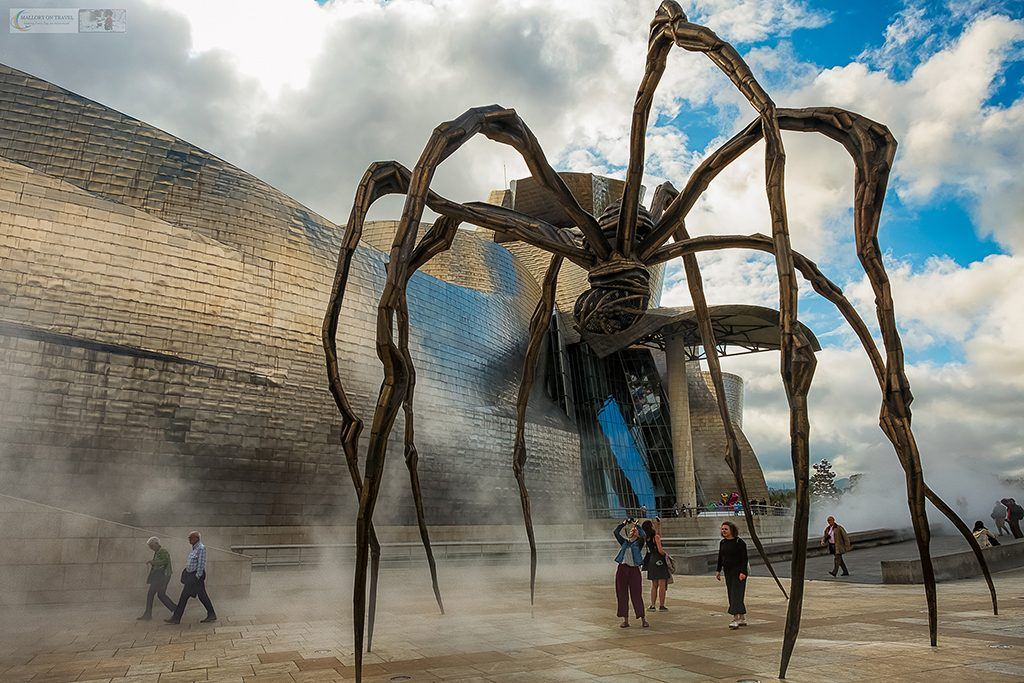 "The ""Maman"" giant Spider sculpture by Louise Bourgeois an exhibition outside the Guggenheim Museum in Bilbao, the Basque Country in Spain on Mallory on Travel adventure travel, photography, travel Iain Mallory_Spain 002-2"