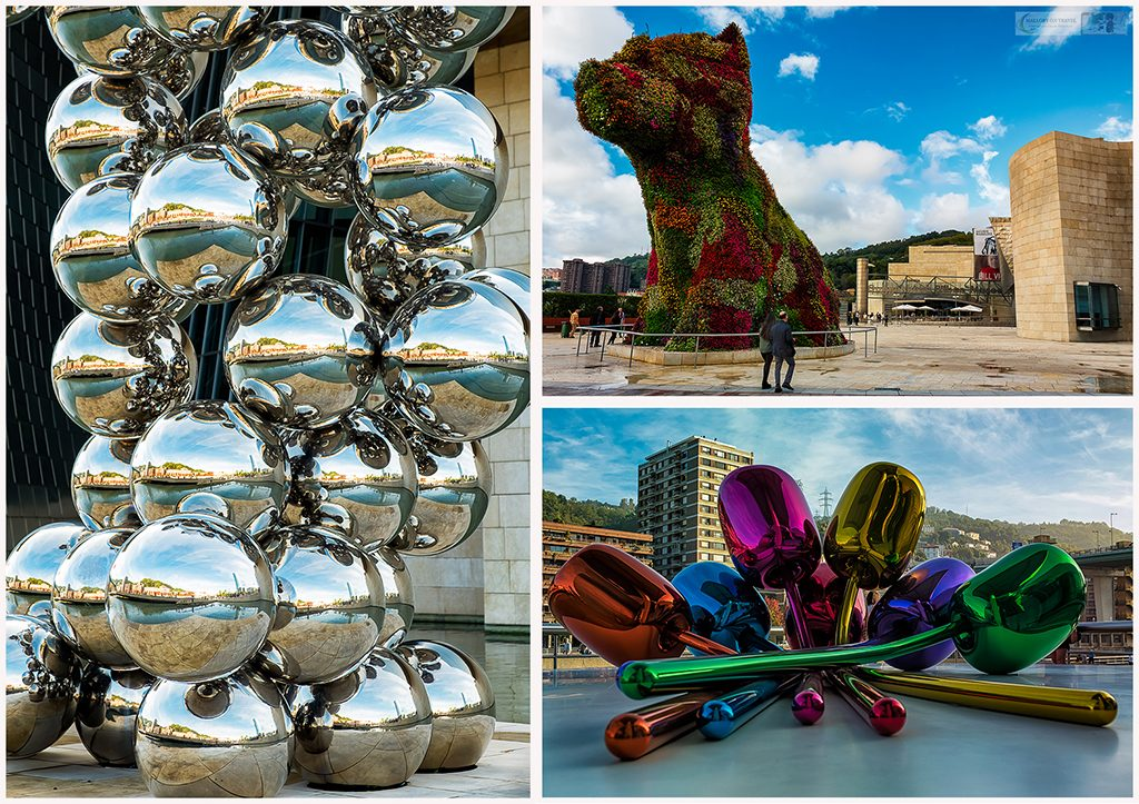 Exhibitions outside the Guggenheim Museum, on the Nervion River in Bilbao, the basque Country in Spain on Mallory on Travel adventure travel, photography, travel Iain Mallory_Spain montage3